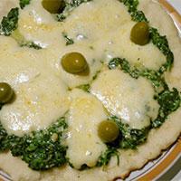 Pizza de espinaca en sartén en 7 minutos